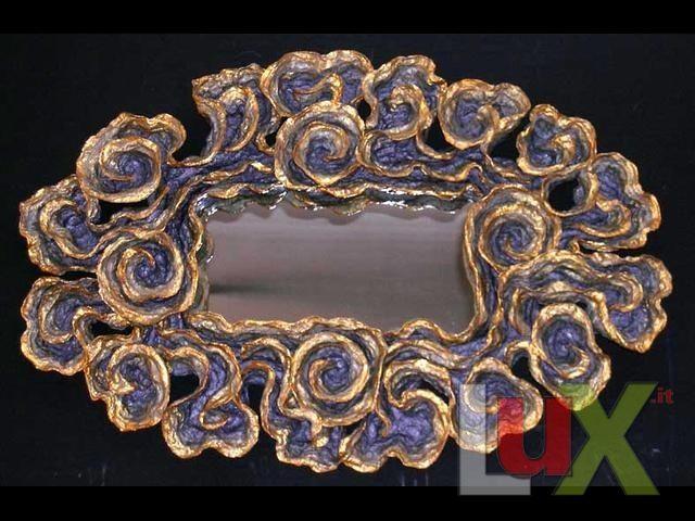 Specchio Ovale. Cartapesta Colorata 105x70..  ROSSO